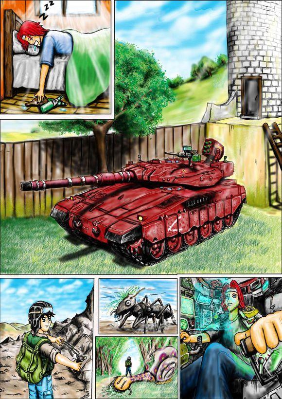 我是一个兵 笛谱-第一章的完结篇,我把本期基本都上色了,就好象我们拿第一辆战车时